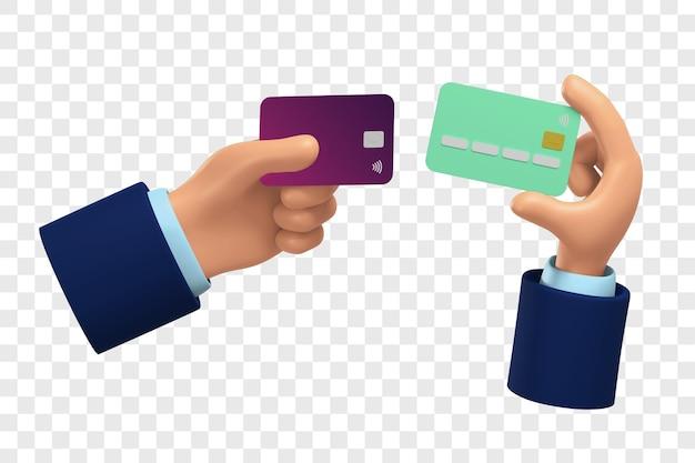 Две 3d вариации рук с кредитными картами, изолированные с настройкой цвета
