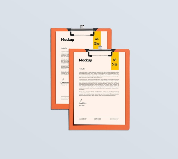 두 개의 a4 페이지 및 클립 보드 모형