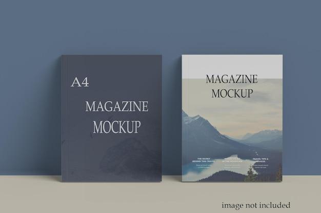 2つのa4サイズの雑誌のモックアップ