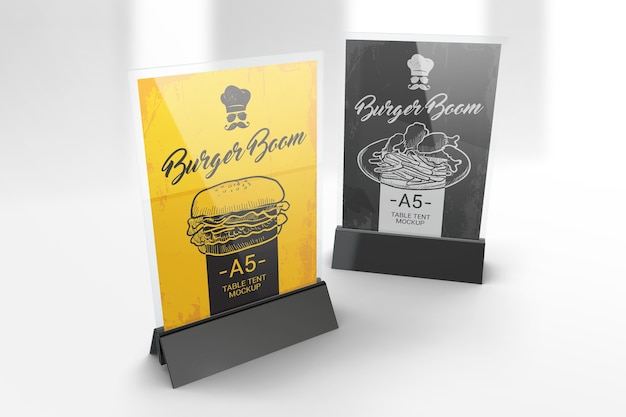 Two a5 table tent stands mockup