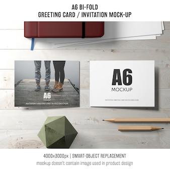 Two a6 bi-fold invitation card mockups