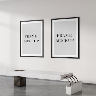 Two black empty posters on the wall