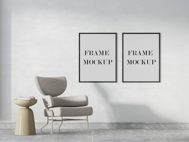 Two black frames mockup on the wall
