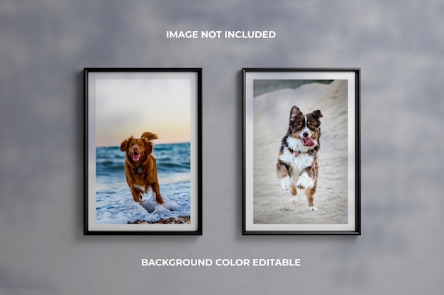 Two black photo frame mockups on the wall