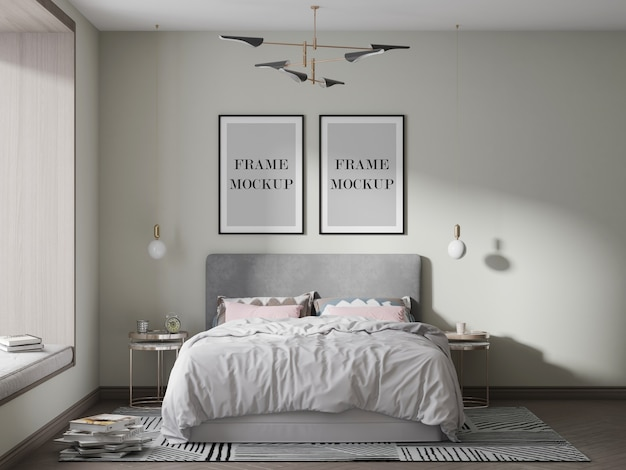 Two black picture frames mockup with bed and lamps
