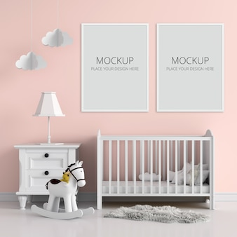 子供の寝室のモックアップの2つの空白のフォトフレーム