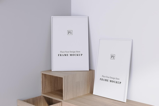 Two blank vertical frame mockup with shadow overlay in room