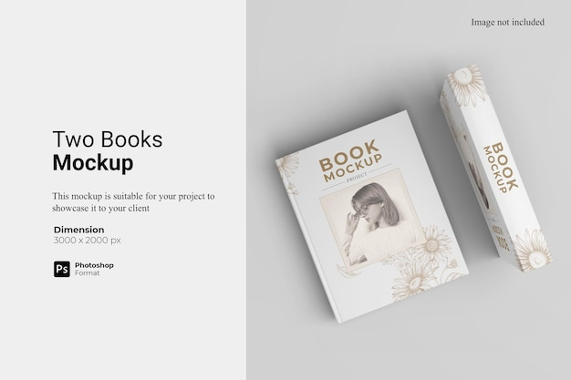 2冊の本のモックアップデザインのレンダリング