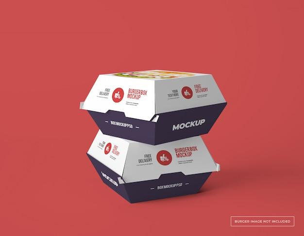 Two burger box packaging mockups Premium Psd