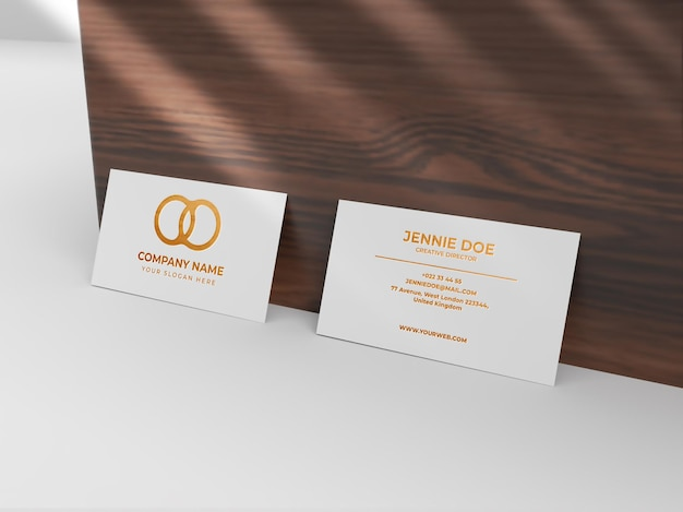Two business card debossed gold shiny texture mockup