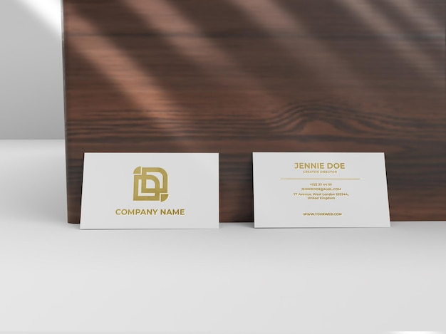 Two business card debossed shiny texture mockup Premium Psd