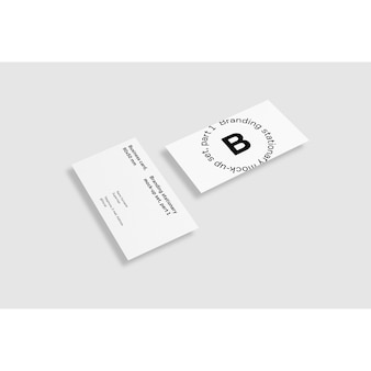 Two Business Card On White Background Mock Up