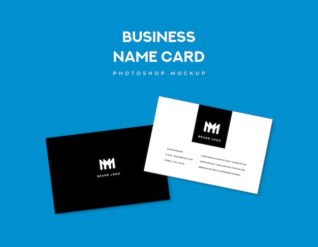 Two business name card front and back style on blue background