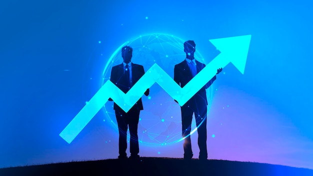 Two businessmen holding a blue arrow