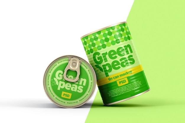 Two cans with cardboard label mockup