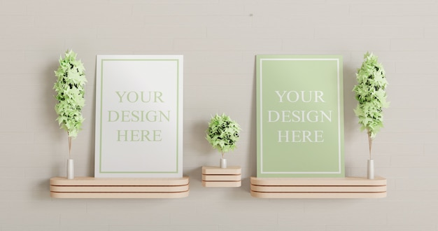 Two canvas mockup standing on the wooden wall desk