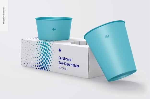 Two cardboard cups holder mockup
