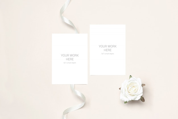 Two cards mockup with rosa and ribbon