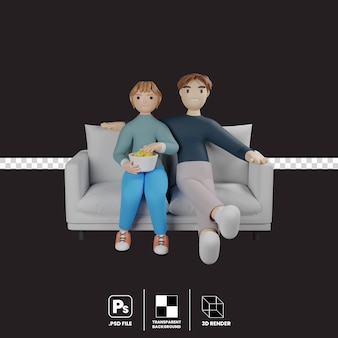 Two character sitting on the sofa watching movie