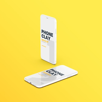 Two clay phone devices mockup