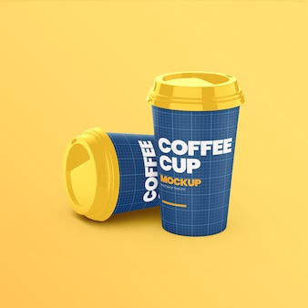 Two coffee paper cups front view mockup