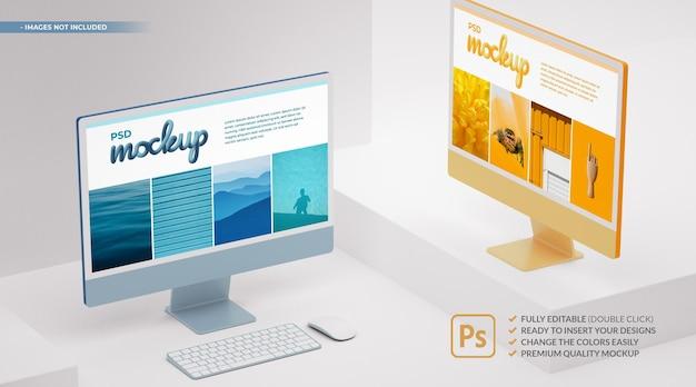 アプリとwebプレゼンテーション用のモックアップ画面を備えた2色のコンピューターモニター。 3dレンダリング