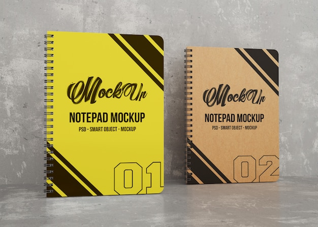 Two colored notepad mockup