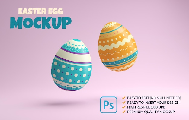 Two colorful easter eggs mockup floating on a pink background in 3d rendering