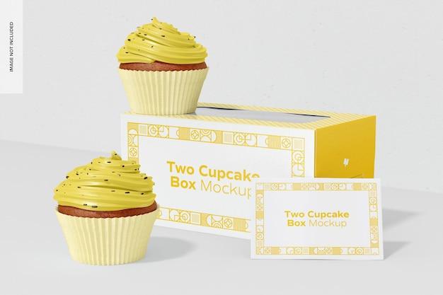 2つのカップケーキボックスのモックアップ