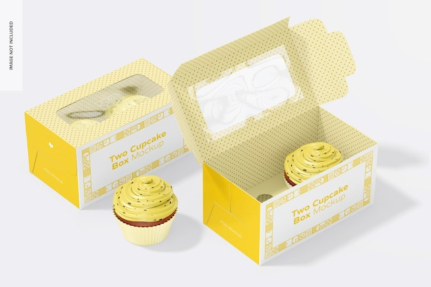 Two cupcake boxes mockup, open and closed