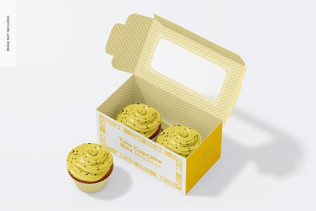 Two cupcakes and box mockup, opened