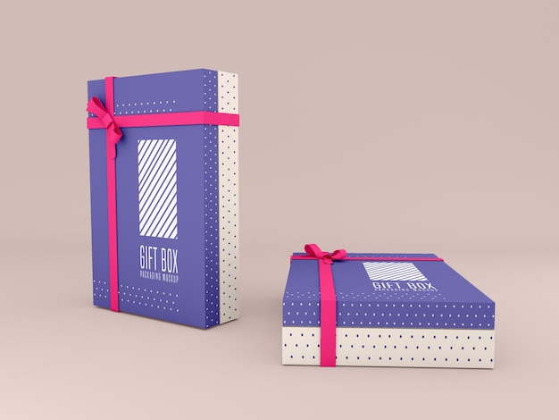 Two decorated gift box mockup