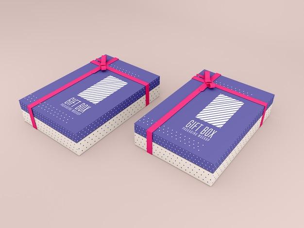 Due mockup di scatole regalo decorate
