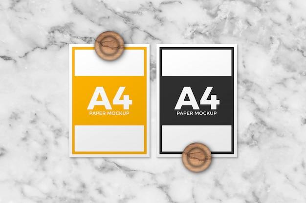 2つの異なるa4用紙モックアップ