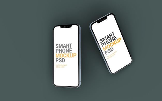 Two different sized smartphone floating mockup