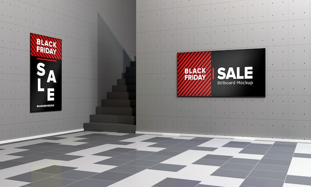 검은 금요일 판매 배너와 함께 쇼핑 센터에 두 개의 디스플레이 사인 모형