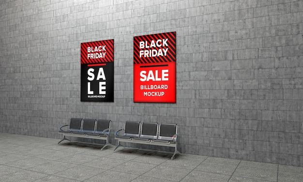 검은 금요일 판매 배너와 함께 벽에 두 개의 표시 기호 모형