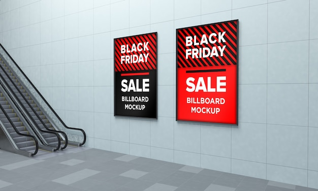 Two display sign mockup in shopping center with black friday sale banner