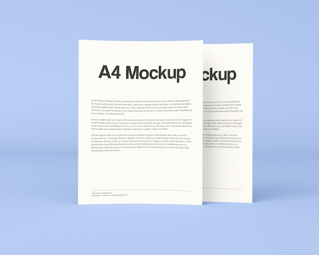 Two documents on blue background mock up
