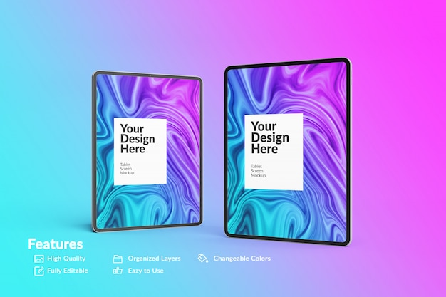 Two editable digital device tablet screen mockup