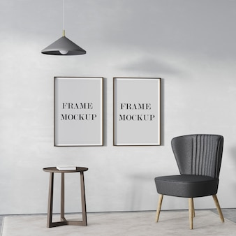 Two empty wood frames mockup on the wall with chair