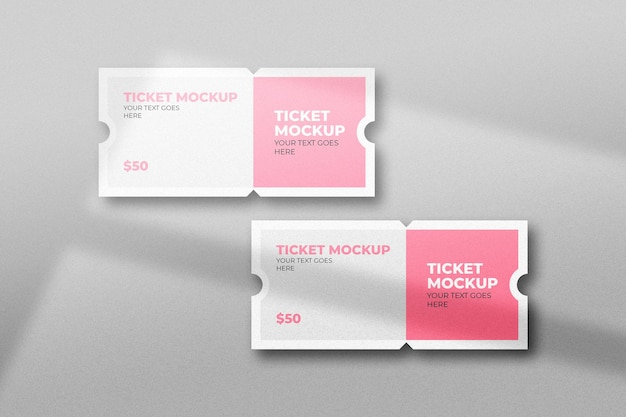 Two event ticket mockup with shadow