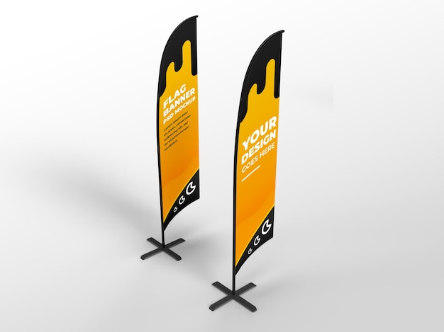 Two flag realistic flag vertical banner advertising and branding campaign mockup