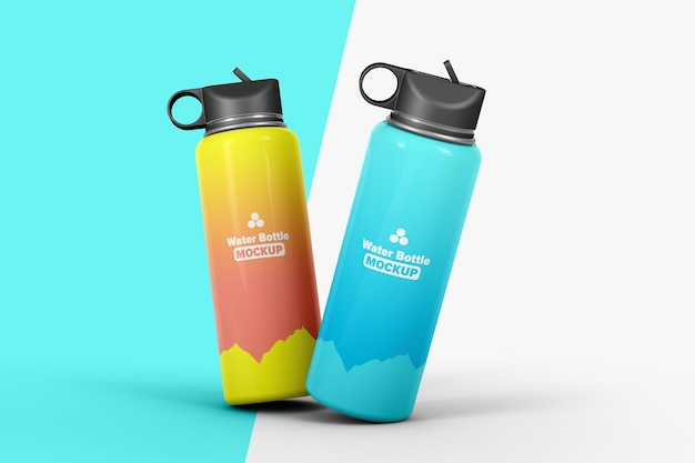 Two flasks for water mockup isolated