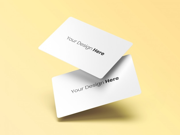 Two floating business cards minimal