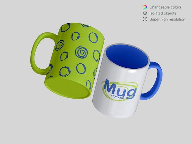 Two floating classic ceramic mugs mockup template