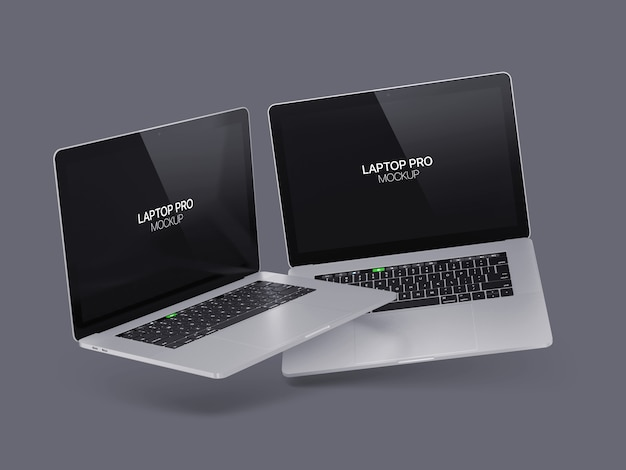 Two floating laptop mockup laptop