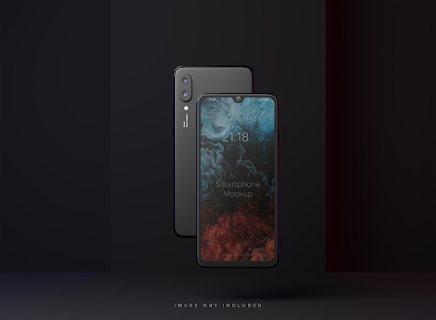 Two floating smartphone mockup