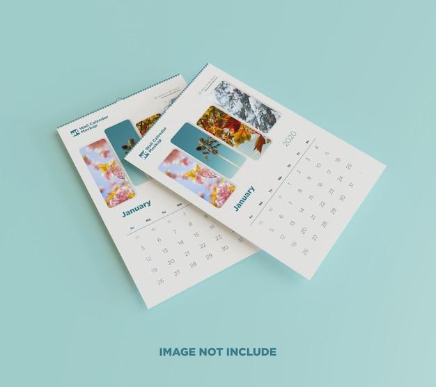 Два плавающих настенных календаря макет на полу