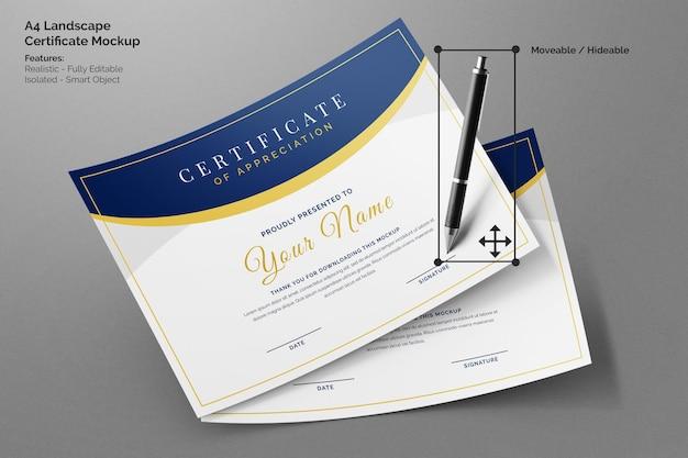 Два летающих современный ландшафтный сертификат компании a4 бумажный редактируемый макет с ручкой для подписи